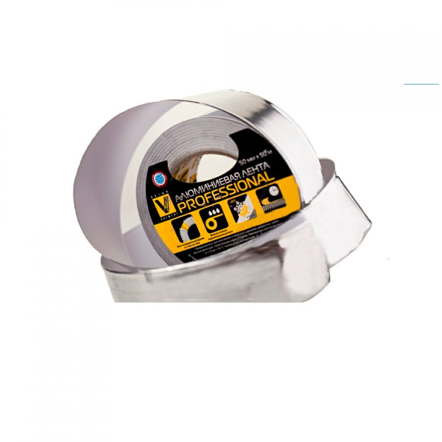 Скотч алюминиевый профи 75 мм х 50 м 70 мкм